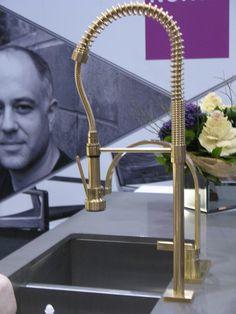 Kristen Morrison Interiors likes Brass restaurant-style faucet Kitchen Hardware, Kitchen Taps, Kitchen Fixtures, Kitchen Redo, Kitchen Pantry, Kitchen And Bath, New Kitchen, Plumbing Fixtures, Brass Hardware