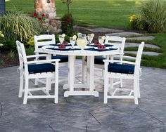 POLYWOOD® La Casa Café Outdoor Dining Set Dine outside in the fresh air and in style at the La Casa Cafe. Made with earth friendly poly lumber that comes from recycled plastic. Pick from a long list of colors. Round Dining Set, 5 Piece Dining Set, Outdoor Dining Set, Outdoor Entertaining, Outdoor Living, Outdoor Decor, Patio Dining, Outdoor Lounge, Dining Table