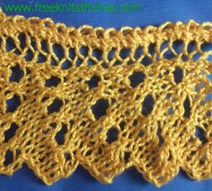 Droplet lace edge knitting stitches pattern