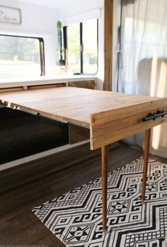 SHARESREAD NEXT You can use some DIY space-saving furniture ideas if you have a small home with small space. These ideas are suitable to make more free space inside your home using unique furniture. Space-saving furniture now is Camper Table, Diy Camper, Camper Van, Rv Campers, Camping Trailers, Travel Trailers, Rv Living, Tiny Living, Living Spaces