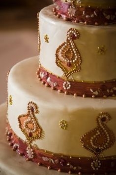Indian wedding theme, cake decorated with pearls and gold beads