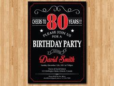 80th Birthday Invitation. 70th 90th 100th Any Age. Chalkboard Black White and…