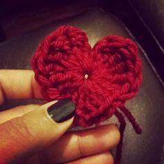 Crocheted heart for a headband