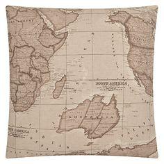 Buy John Lewis Map Cushion, Sepia Online at johnlewis.com