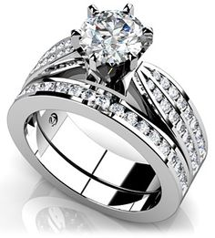 Elegant Six Prong Diamond Bridal Set. This one is my second favorite!!!