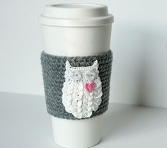 Hand crocheted coffee cosy cozy, owl always love you, starry button eyes, on a true gray sleeve on Etsy, $20.00
