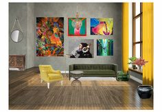 Funky living room by uana. Create your own interior design moodboard now!