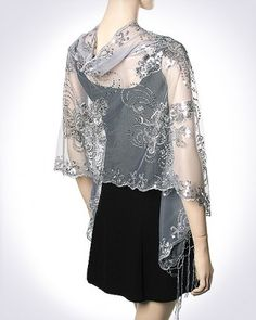 Stunning Silver Evening Wraps on sale at deep discounts. Women's evening shawls and wraps, You surely look gorgeous. Silver Sequins Formal Designer Evening Wrap is beautiful in style and beauty. You surely feels light and looks radiant. This Silver Evening Wraps is glorious and unique. Also it is unique gift idea too.