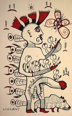Norval Morrisseau- Ancester 1992 Woodland Art, Indian Artist, Mexicans, Shamanism, Native American Fashion, Indigenous Art, Native Indian, Global Art, Aboriginal Art