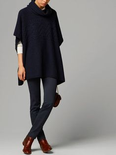 ARRAN WOOL CAPE WITH LEATHER BUCKLES - Sweaters & Cardigans - WOMEN - United States