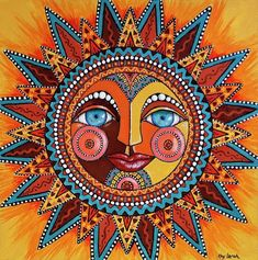 Dia De Los Muertos Wall Art - Painting - Smiling Sun by Kay LarchSmiling Sun Art Print by Kay Larch. All prints are professionally printed, packaged, and shipped within 3 - 4 business days. Choose from multiple sizes and hundreds of frame and mat opt Sun Designs, Madhubani Painting, Sun Art, Hippie Art, Mexican Folk Art, Psychedelic Art, Mandala Art, Sun Mandala, Painted Rocks