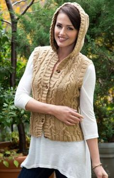 Hooded Cable Vest Free Knitting Pattern from Red Heart Yarn