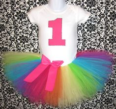 Rainbow Tutu Birthday Outfit and Matching Headband...Hot by Zobows, $37.00
