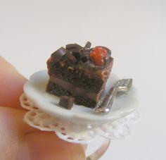 Scented Chocolate Indulgence Cake Slice Miniature Food Ring - Miniature Food Jewelry