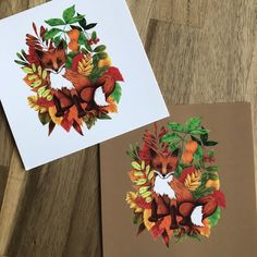J'ai le plaisir de vous présenter cet article de ma boutique #etsy : Carte postale renard d'automne 12cm #papeterie #anniversairedemariage #cartepostale #carte #renard #automne #feuille #blanc #cafe Boutique Etsy, Wedding Anniversary, Fox, Paper Mill, Fall, Cards, White People, Noel