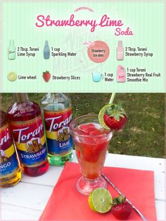 Our Torani Vintage Modern Soda  craze hasn't stopped. We thought of a way to modernize the traditional Strawberry Lime Soda - make some fruity strawberry ice cubes and drop those into your lime soda! Genius, right?! Perfect for the summer, we'll bet on it!