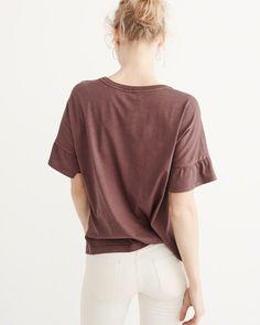 A&F Women's Ruffle Sleeve Boyfriend Tee in Burgundy - Size XL