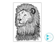 Abstract lion line drawing Print // black pen drawing // hand drawing // black and white // animal lovers // paper print// A4 size
