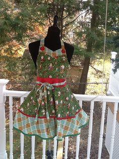 Christmas two tier retro Santa apron w by MothersApronString