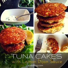 Enjoy these tasty tuna cakes with Lemon Dijon Sauce (mayo and bread crumb free!) Approved for all cycles of the 17 Day Diet! Pin for Recipe! http://17ddblog.com/tuna-cakes-lemon-dijon-sauce/