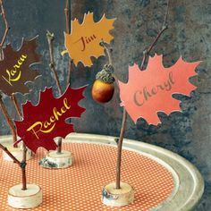 Bring a natural element to your Thanksgiving table with easy-to-make printable leaf place cards.