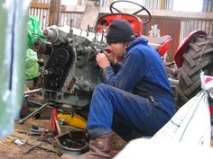 The Tractor Lad - Starting the - vintage tractor restoration specialists Hi Vis Workwear, Vintage Tractors, Construction Worker, Cylinder Head, Up And Running, Cold Day, Things To Think About, Restoration, Boots