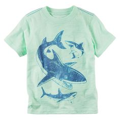 Toddler Boy Carter's Short Sleeve Sea Creature Graphic Tee, Size: 3T, Lt Green
