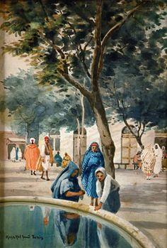 Jenör KOSZKOL Place animée à Tunis. Aquarelle, signée en bas à gauche et