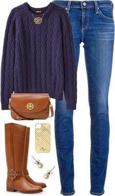A fashion look from October 2013 featuring Peter Jensen sweaters, AG Adriano Goldschmied jeans and Tory Burch boots. Browse and shop related looks. Estilo Fashion, Look Fashion, Fashion Outfits, Womens Fashion, Fall Fashion, India Fashion, Japan Fashion, Street Fashion, Fall Winter Outfits