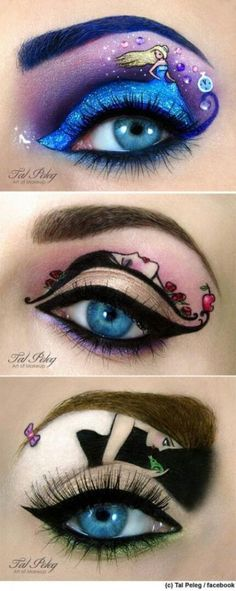 These are really cool ideas for eyes! Especially love the third one at the bottom! using the eyebrow as hair! So smart!