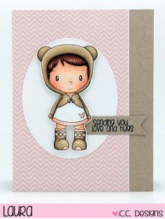 C.C. Designs - Teddy Lucy, Coffee with Clove (sentiment), C.C. Cutters Make-a-Card Die #5