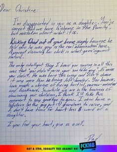 """Go grandpa!  The letter is from one seriously awesome grandpa and is to his """"hurtful, narrow-minded and backwards"""" daughter, who apparently had just kicked her son out of the house after learning he was gay."""
