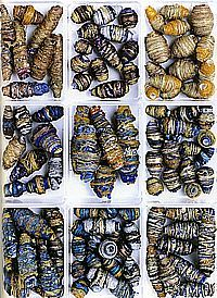 Handmade textile beads, Surfaces for Stitch by Gwen Hedley