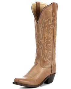 "Women's Tan Pointed Toe Boots - TS1541 $129.95  Product Details      All over leather with 14"" shaft     Fully leather lined     Reinforced shanks     6-row fancy stitch     Hand corded medallion     Cushion leather insole     Cowboy heel     Snip toe and leather outsole"