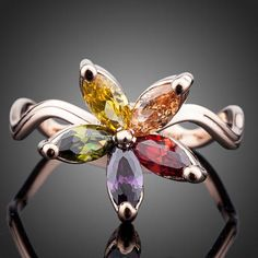 Beautiful Multicolour Zircons CZ Flower with Curved Band Finger Ring Stylish Rings, Ring Finger, Fashion Rings, Belly Button Rings, Cufflinks, Brooch, Pendant Necklace, Band, Flowers
