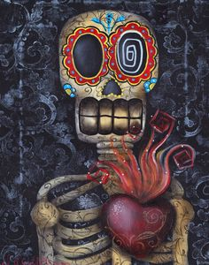skull whimsy art | ... > Artist Spotlights > Abril Andrade: Sugar Skull Day of the Dead Art