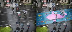 Local designers in Seoul, South Korea worked with Pantone to create Project Monsoon which sees murals appear on the pavement when it rains. Street Art, Street Mural, Rain Street, Bizarre Art, Gloomy Day, Types Of Painting, When It Rains, Art Institute Of Chicago, Colorful Paintings