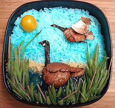 Tinted rice, vegetables and pieces of roasted meat. #food #art  http://pinterest.com/artexperienceny/food-art/