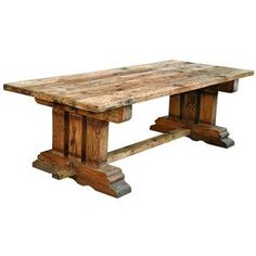 Industrial Reclaimed Wood Trestle Dining Table by Jaipur Furniture - Story & Lee Furniture - Kitchen Table Leoma, Lawrenceburg, Memphis, Chattanooga, Nashville, and Birmingham