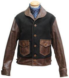 "Deerskin/ Horsehide Aero Marine, 42"" - Aero Leather, Scotland, UK"