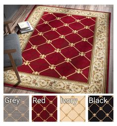 Patrician Trellis Red Lattice Area Rug European French Formal Traditional Area Rug 7' x 9' Easy Clean Stain Fade Resistant Shed Free Modern Classic Contemporary Thick Soft Plush Living Dining Room Rug -- Remarkable product available now. (This is an amazon affiliate link. I may earn commission from it)