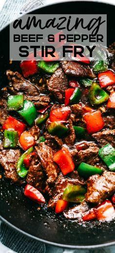 Amazing Pepper Steak Stir Fry This delicious Steak Recipes is a… - Melhores Receitas Steak Fajitas, Beef Steak, Marinade Steak, Chicken Steak, Steak Meals, Steak Marinades, Fried Steak, Meals With Beef, Steak Fajita Recipe