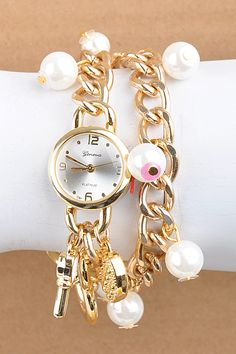 Faux pearls charm watch WHOLESALE JEWELRY