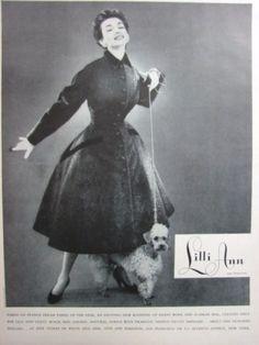 1954 LILLI ANN Wool SEAL FUR Coat Fashion Cute POODLE PUP vintage photo print Ad   eBay