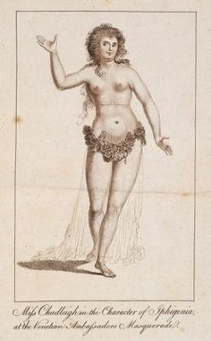 From the Untold Lives blog post ' Scandal and Bigamy in #Georgian #London'. Image:'Miss Chudleigh in the Character of Iphigenia, at the Venetian Ambassadors Masquerade'  from Life and Memoirs. #BLGeorgians