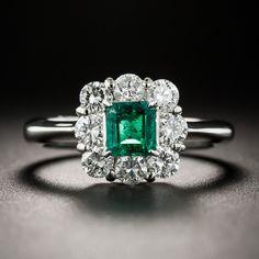 Platinum .45 Carat Emerald and Diamond Ring