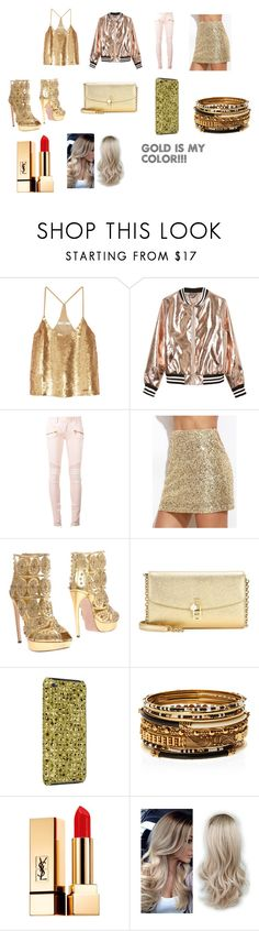 """Gold"" by princessjo1229 ❤ liked on Polyvore featuring TIBI, Sans Souci, Balmain, Alexander McQueen, Dolce&Gabbana, Amrita Singh and Yves Saint Laurent"