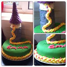 Rapunzel birthday cake. Stacked and fondant covered donuts for the tower, topped with fondant covered ice cream cone for the roof