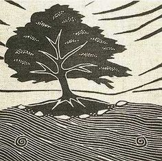 Gail Kelly's series of trees printed on hand made Linen are very charming. I like the way that such simple marks can be so evocative of things that are familiar to us.
