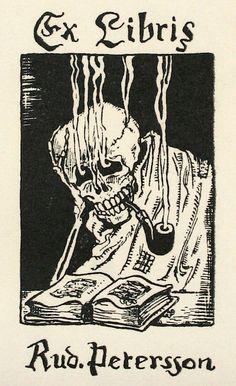 EX LIBRIS: Antique Book Plates : Smoking Skull. Ex Libris for Rudoph Peterson at Davidson Galleries